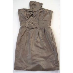 J CREW Brown Silk Pleated Bridesmaids Dress Sz 0 P